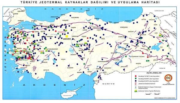 türkiye jeotermal kaynaklar dağılımı ve uygulama haritası