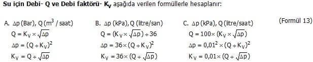 Vanalar Formülleri