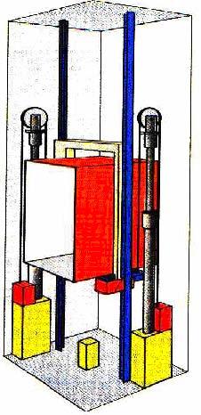 Yandan indirekt iki pistonlu hidrolik asansör
