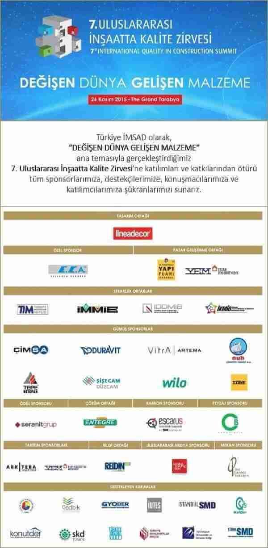 7. Uluslararası İnşaatta Kalite Zirvesi Sponsorlar
